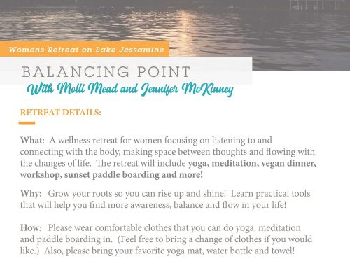 Balancing Point 1 Day Women's Retreat